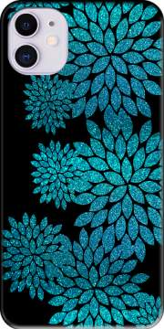 aqua glitter flowers on black Case for iPhone 11