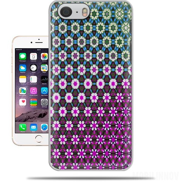 Case Abstract bright floral geometric pattern teal pink white for Iphone 6 4.7