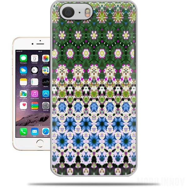 Case Abstract ethnic floral stripe pattern white blue green for Iphone 6 4.7