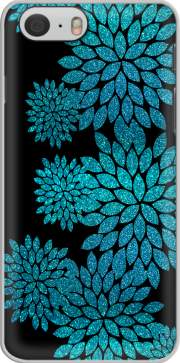 aqua glitter flowers on black Iphone 6 4.7 Case