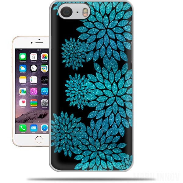 Case aqua glitter flowers on black for Iphone 6 4.7