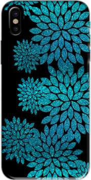 aqua glitter flowers on black Case for Iphone X / Iphone XS