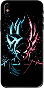 Black Goku Face Art Blue and pink hair Iphone X / Iphone XS Case