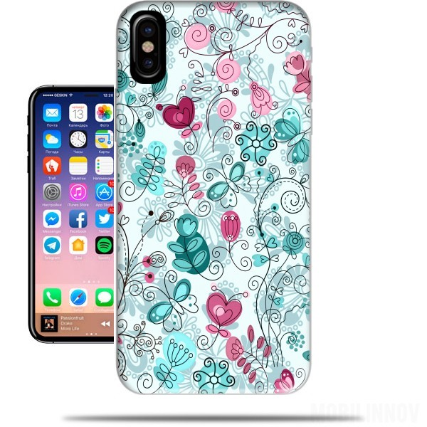 Case doodle flowers and butterflies for Iphone X / Iphone XS