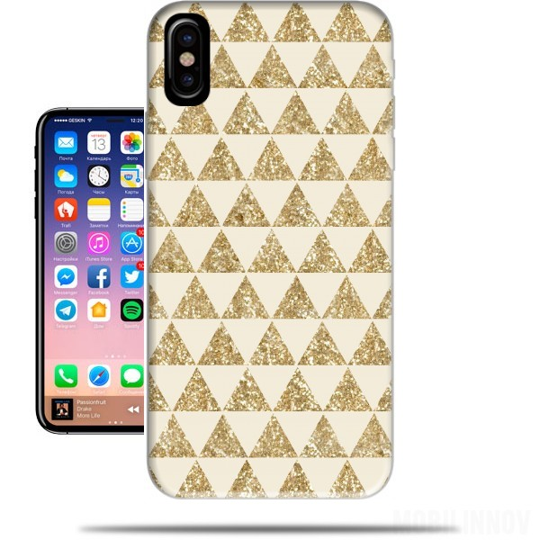 Case Glitter Triangles in Gold for Iphone X / Iphone XS