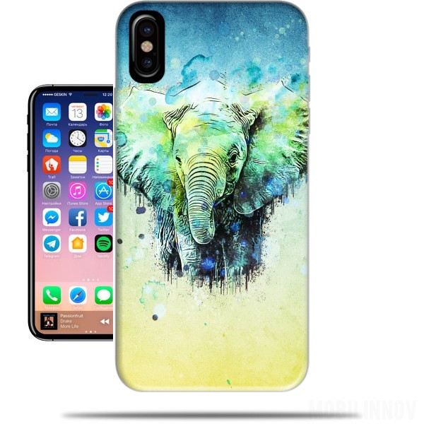 Case watercolor elephant for Iphone X / Iphone XS