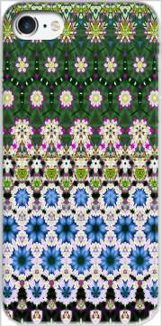Abstract ethnic floral stripe pattern white blue green for Iphone 7 / Iphone 8