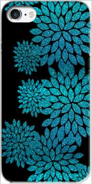 aqua glitter flowers on black Case for Iphone 7 / Iphone 8