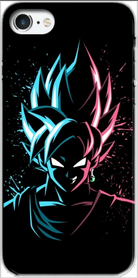 Case Black Goku Face Art Blue and pink hair for Iphone 7 / Iphone 8