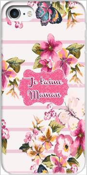 Pink floral Marinière - Je t'aime Maman for Iphone 7 / Iphone 8