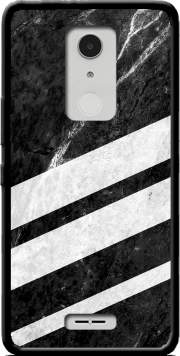 Black Striped Marble Case for Alcatel A3 XL