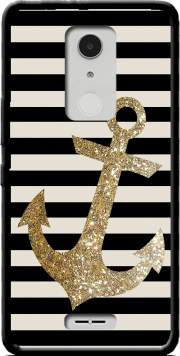 gold glitter anchor in black Case for Alcatel A3 XL