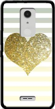 Sunny Gold Glitter Heart Case for Alcatel A3 XL