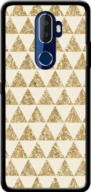 Glitter Triangles in Gold Case for Alcatel 3V
