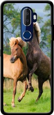 Two Icelandic horses playing, rearing and frolic around in a meadow Case for Alcatel 3V