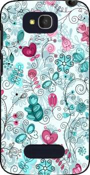 doodle flowers and butterflies Case for Alcatel One Touch Pop C7