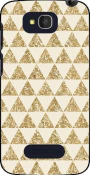 Glitter Triangles in Gold Case for Alcatel One Touch Pop C7