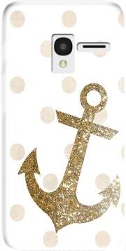 Glitter Anchor and dots in gold Case for Alcatel Pixi 3 4.5 3G 4027X