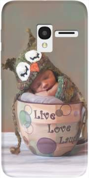 Painting Baby With Owl Cap in a Teacup Case for Alcatel Pixi 3 4.5 3G 4027X