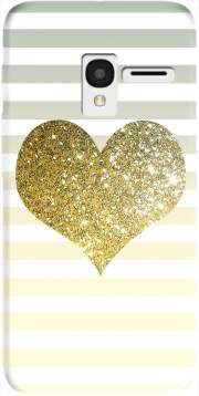 Sunny Gold Glitter Heart Case for Alcatel Pixi 3 4.5 3G 4027X