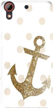 Glitter Anchor and dots in gold Case for Htc Desire 628