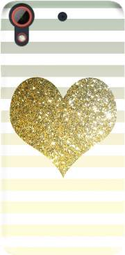Sunny Gold Glitter Heart Case for Htc Desire 628
