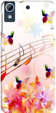 Musical Notes Butterflies Case for HTC Desire 626