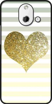 Sunny Gold Glitter Heart Case for HTC One (E8)