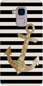 gold glitter anchor in black Case for Huawei Honor 5C / HUAWEI GT3 / Honor 7 Lite
