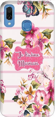 Pink floral Marinière - Je t'aime Maman Case for Honor Play Cor-L29