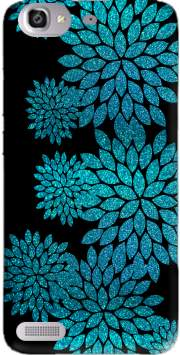 aqua glitter flowers on black Case for Huawei G8 Mini GR3 / Enjoy 5S