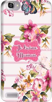 Pink floral Marinière - Je t'aime Maman Case for Huawei G8 Mini GR3 / Enjoy 5S