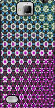Abstract bright floral geometric pattern teal pink white Huawei Honor 3C Case