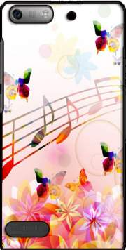 Musical Notes Butterflies Case for Huawei Ascend P6 Mini