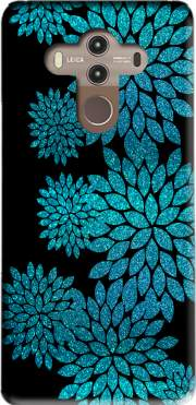 aqua glitter flowers on black Case for Huawei Mate 10 Pro
