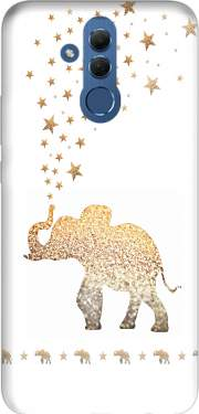 Gatsby Gold Glitter Elephant Case for Huawei Mate 20 Lite