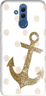 Glitter Anchor and dots in gold Case for Huawei Mate 20 Lite