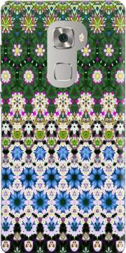 Abstract ethnic floral stripe pattern white blue green Huawei Mate S Case