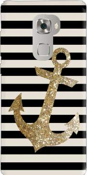 gold glitter anchor in black Case for Huawei Mate S