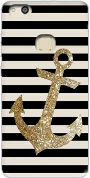 gold glitter anchor in black for Huawei P10 Lite