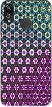 Abstract bright floral geometric pattern teal pink white Case for Huawei P20 Lite