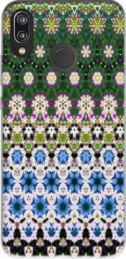 Abstract ethnic floral stripe pattern white blue green for Huawei P20 Lite / Nova 3e