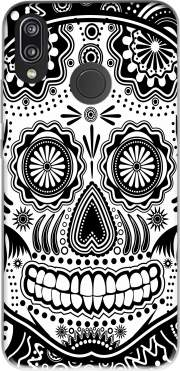 black and white sugar skull for Huawei P20 Lite
