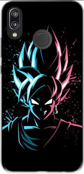 Case Black Goku Face Art Blue and pink hair for Huawei P20 Lite