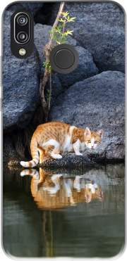 Cat Reflection in Pond Water Case for Huawei P20 Lite