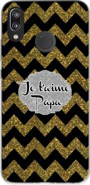 chevron gold and black - Je t'aime Papa Case for Huawei P20 Lite / Nova 3e