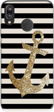 gold glitter anchor in black for Huawei P20 Lite