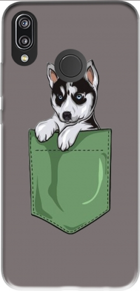 Case Husky Dog in the pocket for Huawei P20 Lite