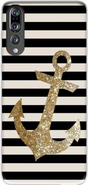 gold glitter anchor in black Case for Huawei P20 Pro / Plus