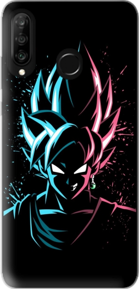 Case Black Goku Face Art Blue and pink hair for Huawei P30 Lite / Nova 4